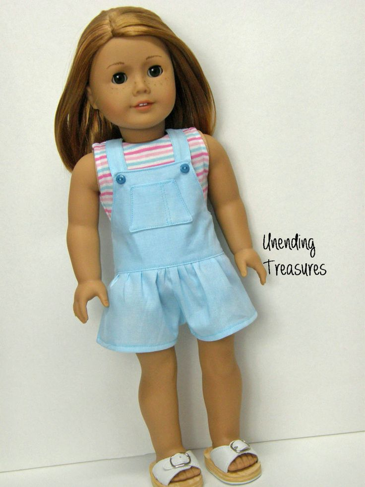 American Girl doll clothes, 18 inch doll clothes, American Girl clothes, striped tank top and lt blue shortalls by Unendingtreasures on Etsy