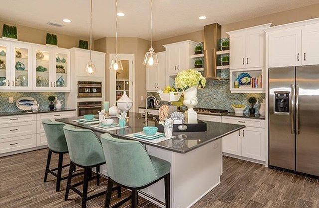 Some Saturday morning kitchen inspo to help brighten your day, by Westbay Homes!☀️✨ Those floors though!  credit: @homesbywestbaytampa