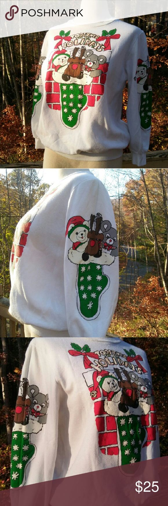 1989 HOLIDAY Sweatshirt Vintage Together for the Holidays Sweatshirt with BJ Frog 1989 Copyright (located in the front logo between the bricks at the stocking heel). Christmas! Ugly sweater? I think it's adorable... In great used condition; the fabric shows a bit of pilling from being washed. No stains! No tags. Women's Medium. From a smoke free home. Make an offer! Vintage Tops Sweatshirts & Hoodies