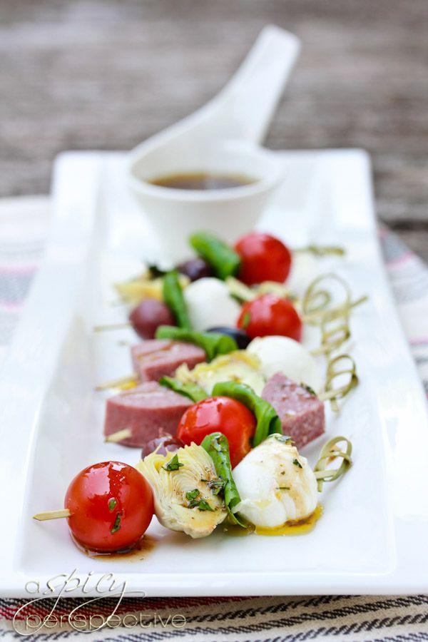 Antipasto Platter Skewer Recipe - ASpicyPerspective.com #Appetizers #Recipes