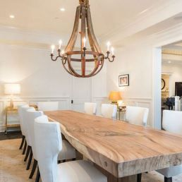 contemporary dining room with natural wood table