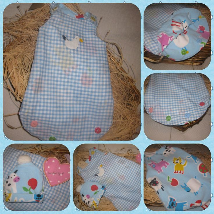 """""""Martha"""" sleep nest. Soft and fleecy inner, with a lovely pale blue gingham. Apliqued Martha motif and lovely matching beanie hat see facebook for more details £25 +£2.50 pp"""