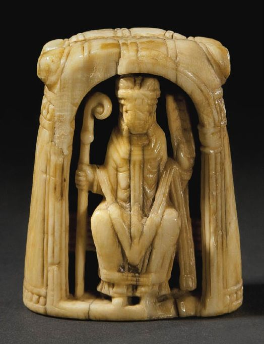 Ivory chess  piece. Bishop(sea ivory),England  or Germany,12th cent. The ivory  has been dated between  790-900 by carbon  14.