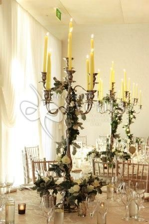 ... wedding silver 9 arm candelabra centrepiece with ivy detail