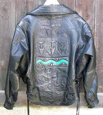 BILL WALL LEATHER VINTAGE 1985 MOTORCYCLE JACKET BWL Excellent Condition! Medium