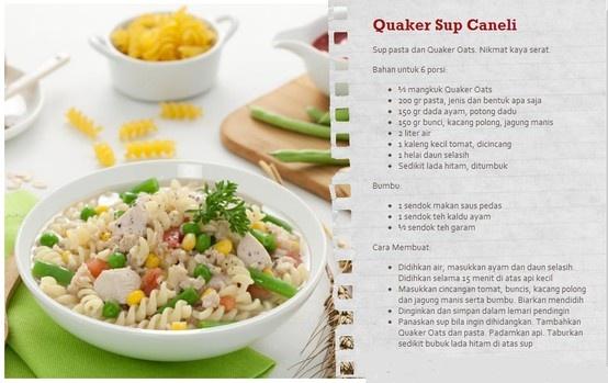 Ingin coba menu diner baru bersama keluarga?  Quaker Sup Caneli ini bisa jadi inspirasi menu makan malam Anda.  Cek kumpulan resep Quaker Oats lainnya yang sehat dan lezat disini www.sayangijantungmu.com/resep