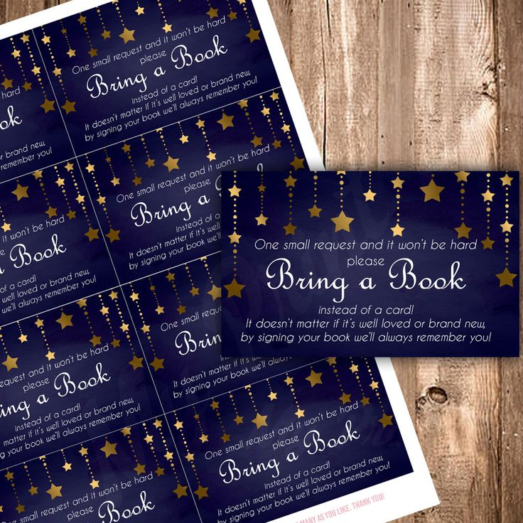 Bring a Book Insert - Twinkle Little Star Baby Shower, Boy Baby Shower, Blue and Gold Baby Shower by MyPrintPalace on Etsy https://www.etsy.com/listing/268963085/bring-a-book-insert-twinkle-little-star