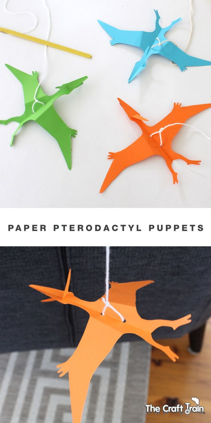 Paper pterodactyl puppets with printable template (Maybe make a few for a mobile in the boy's room?)
