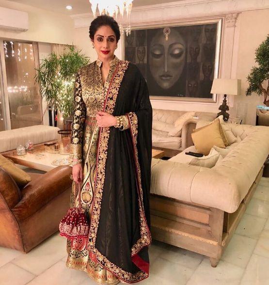 Sri Devi Kapoor In A Beautiful Anarkali Design By Manish Malhotra