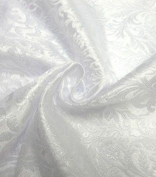 Glitterbug Brocade Fabric 59''-Iridescent White Paisley