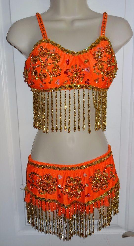 Gypsy Genie Glamour Costumes Dance Costume Orange Beads Sz Adult Medium MA - SL #GlamourCostumes