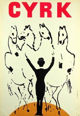 Wiktor Górka 'Cyrk - Treser koni/Circus - Tamer of horses' -Polish Poster, 1966