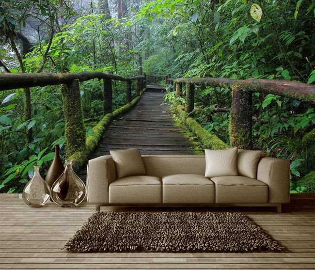 Papier peint photo paysage zen effet 3D - Pont en bois dans la forêt