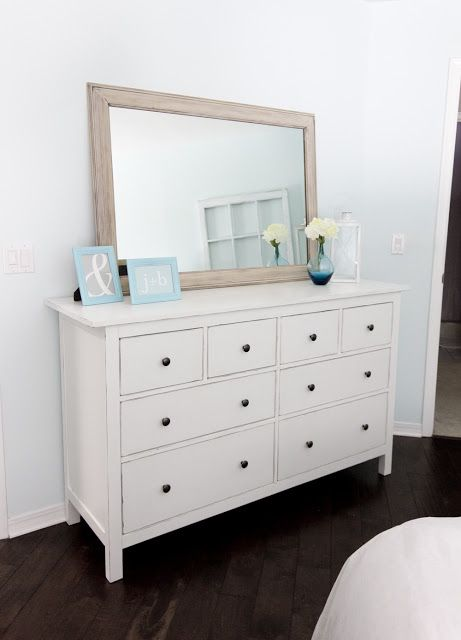 I like the mirror behind dresser.. I would hang mirror on wall by the dresser I have that looks sort of like this..