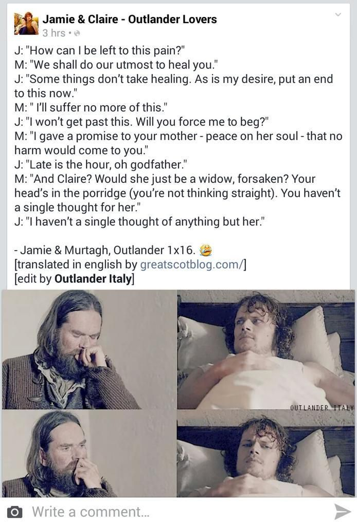The conversation of Jamie and Murtagh from Outlander Season 1 Episode 16 translated into English - gut wrenching