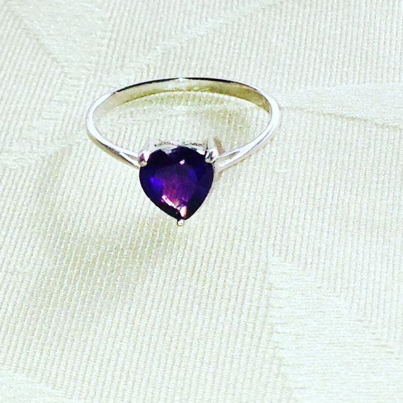 Amethyst Purple Heart Ring Solitaire February by NorthCoastCottage