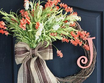 Items similar to Spring wreath- Burlap Wreath - Mothers Day-Home decor Etsy Wreath -Wreaths for Summer wreaths for door  - Door Wreath - Monogram wreath on Etsy