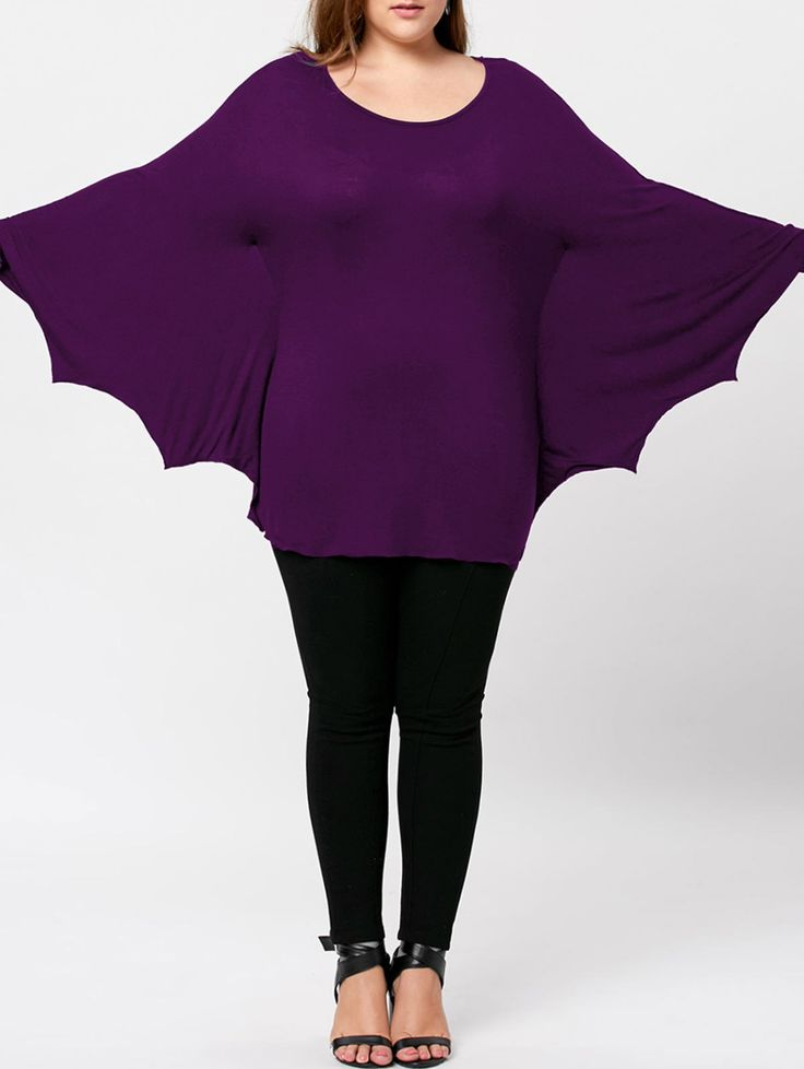 Plus Size Halloween Batwing T-shirt, PURPLE, XL in Plus Size T-shirts | DressLily.com