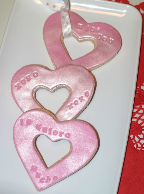 Fondant Stamped Heart Cookies