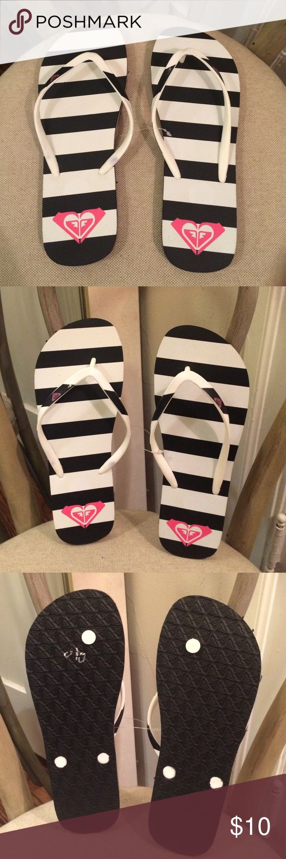Navy Blue & White Striped Flip Flops Size 8/9. New never worn. Price firm. Bundle & Save Shoes