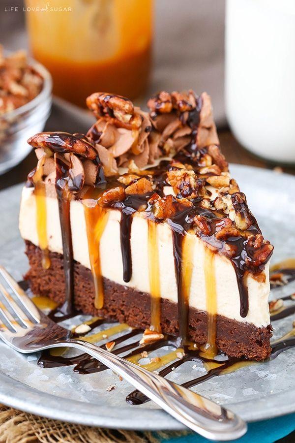 Tortuga Brownie del pastel de queso - inferior brownie, pastel de queso caramelo y nueces!  postre perfecto para el otoño!