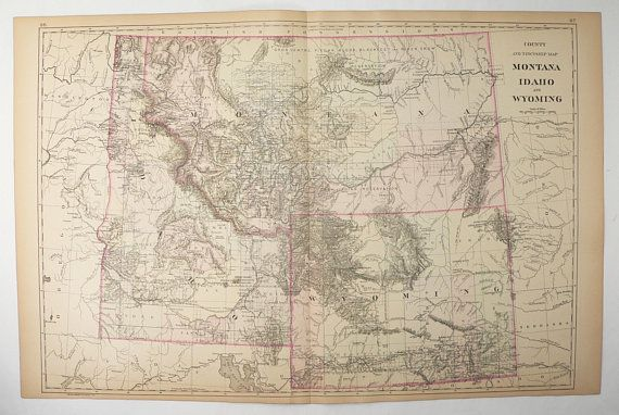 Large Us State Map.Antique Wyoming Map Montana Idaho Map Wy Map Mt Id Large Vintage