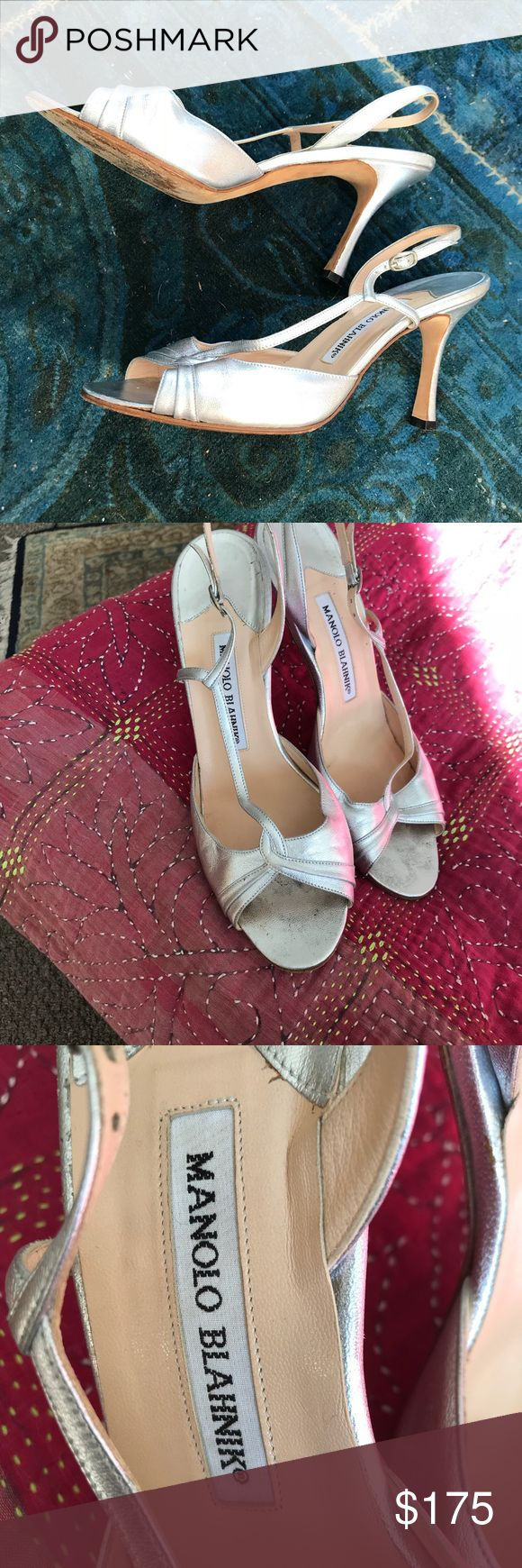 Manolo Silver Dress Sandals Bought these at Bergdorf G's in NYC for a wedding I went to there. Worn once they are like new. Very feminine and dainty. Every girl needs one pair of Manolo B's and a Silver Sandals for parties. ❤️ Manolo Blahnik Shoes Heels