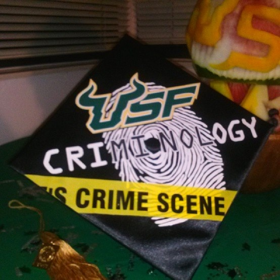 "A #USF criminology student's mortar board. *This gives me a TON of ideas for my ""cap"" when I graduate!! =)"