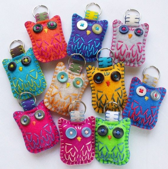 Owls for Your Keys...These are too cute and would be inexpensive gift ideas!