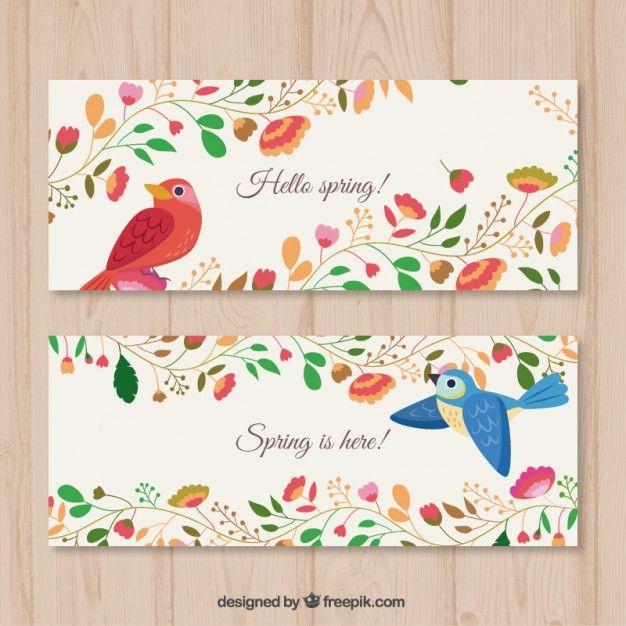 Bandeiras florais com pássaros Vetor grátis