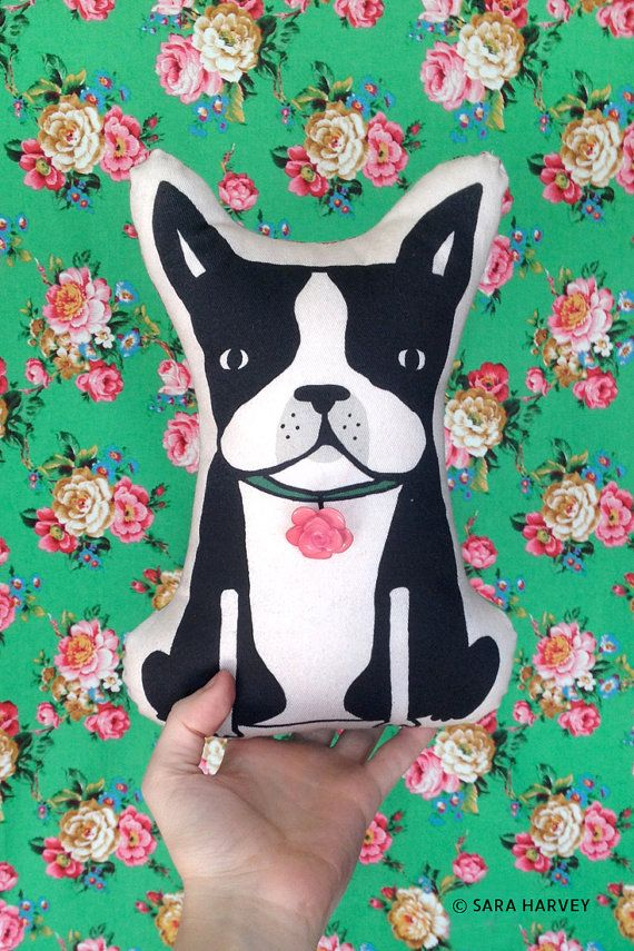 One of a kind handmade Boston Terrier pillow plush doll by Sara Harvey. #etsy #bostonterrier #plush https://www.etsy.com/shop/MultiplePersonality