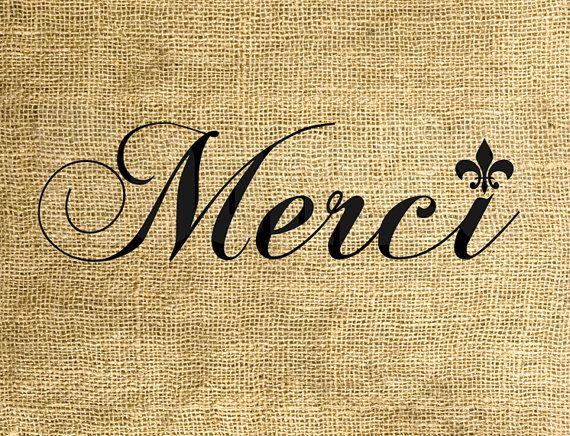 INSTANT DOWNLOAD Merci Fleurdelis  Download and Print  by room29, $3.00
