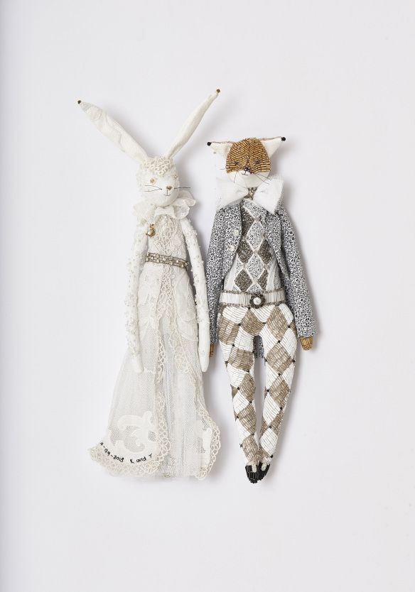 Kristi and Tim bespoke handmade wedding couple by Alice Mary Lynch Doll Maker