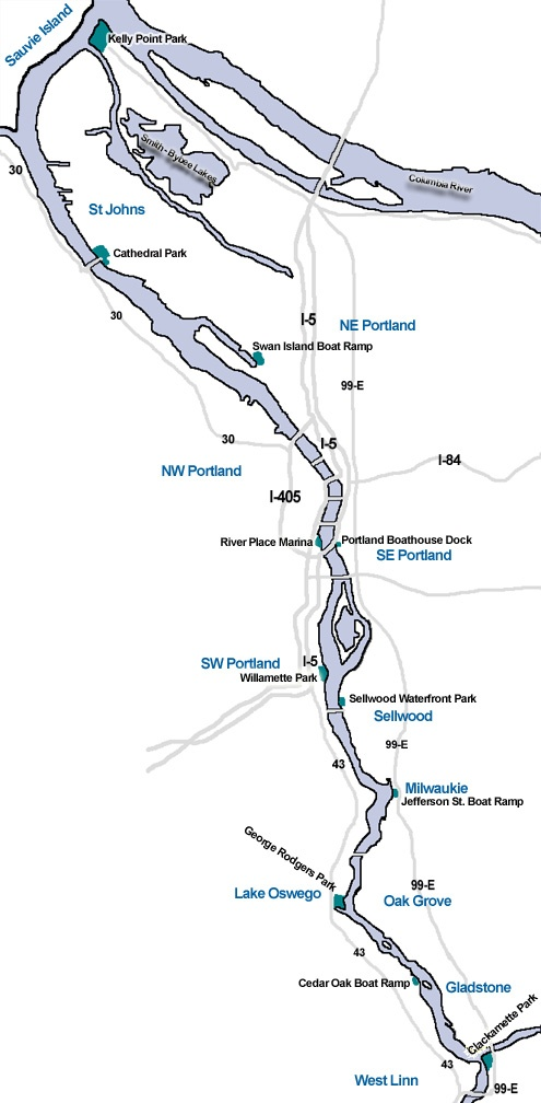 Willamette River Map For Kayaking On The Willamette River In - Oregon rivers map