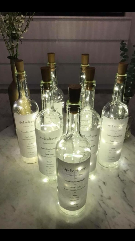 Flaschenlicht, Menükarte, Hochzeit