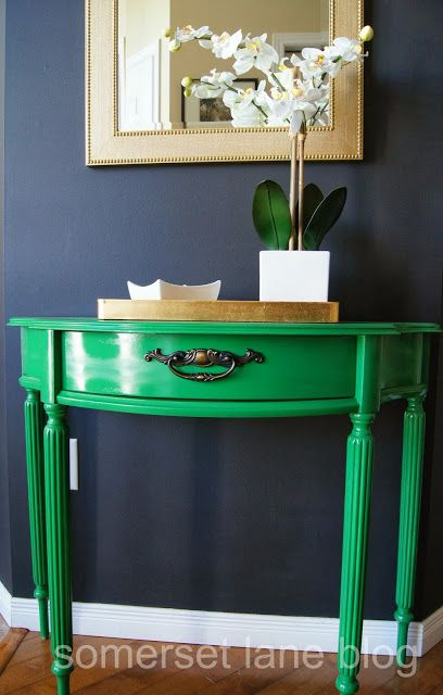 Somerset Lane: Going Bolder Green Table Makeover Vintage Funky Blue Wall  Gold Frame Love The Kelly Green And Blue With Gold Hits