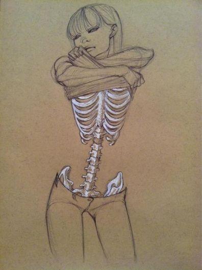Portrait+body/bones/ligaments/organs on darker paper with paint/watercolors/colored pencis- Advanced Art. Mr C.
