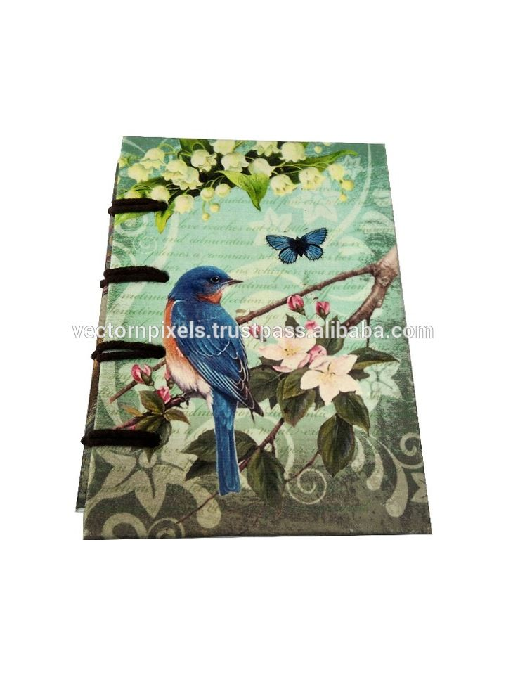 digital blue bird with green background background print notebook diary journal sketch book writing pad travelers diary journal