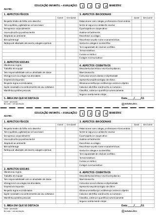 Ficha avaliação educação infantil                              …