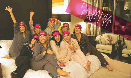 Love this girls night in PJ party idea. Champagne. Crafting. Pampering. and more.