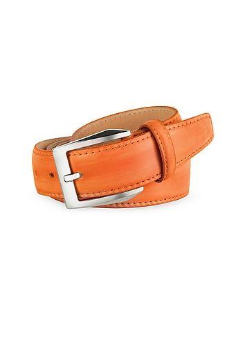 Pakerson+Cintur%F3n+Hombre+Piel+Naranja+Pintado+a+Mano