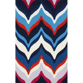"""Showcasing a contemporary chevron motif and vibrant palette, this hand-tufted rug makes a stylish addition to your master suite or den. Product: RugConstruction Material: 100% PolyesterColor: MultiFeatures: Hand-tufted0.5"""" Pile height Note: Please be aware that actual colors may vary from those shown on your screen. Accent rugs may also not show the entire pattern that the corresponding area rugs have."""