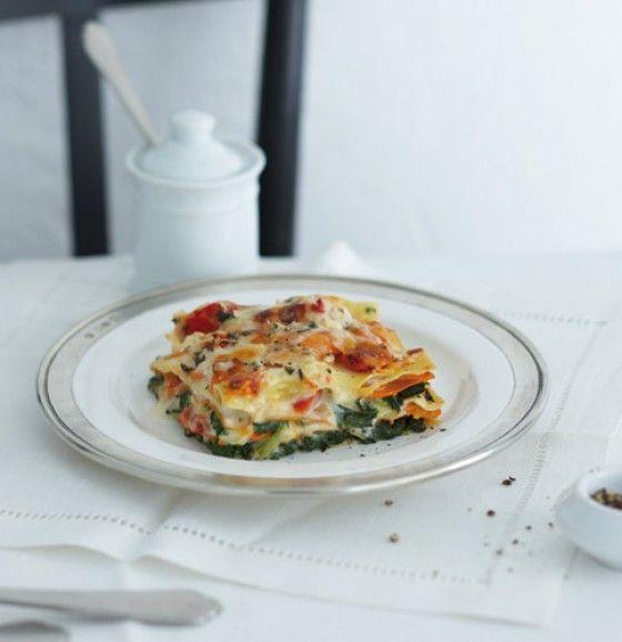 Kürbis-Spinat-Lasagne mit Ziegenkäse-Béchamel