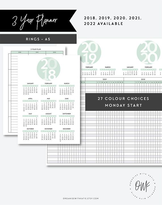 A5 2018 2019 2020 2021 2022 3 Year Planner Year Overview A5 Printable Pages A5 Pl Printable Planner Pages Planner Inserts Printable A5 Planner Inserts