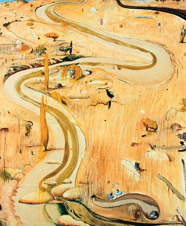 This painting suggests narrative - moving through the landscape, encountering different objects along the way. Summer at Carcoar - Brett Whiteley