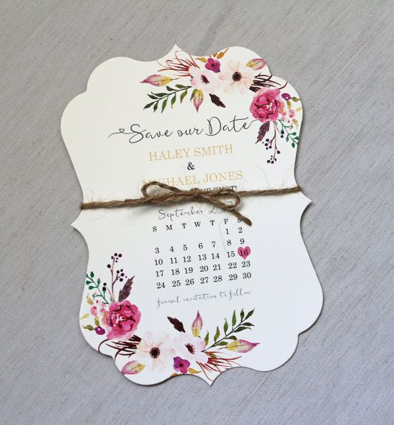 Calendar Save The Date Card   Floral Wedding Save The Date Card, Modern Save  Date, Floral, Shabby Chic Wedding , Boho Floral Invites