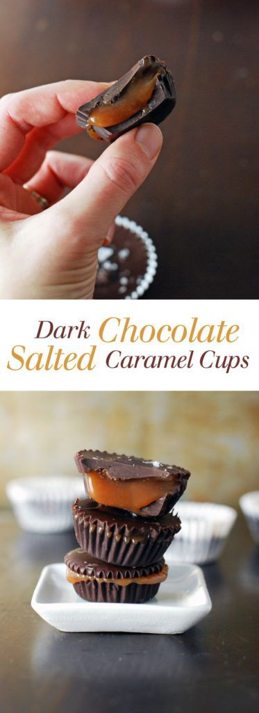 Dark Chocolate Salted Caramel Cups - Buttery smooth caramel paired with dark chocolate and crunchy salt! I want to marry these incredible treats. Full recipe at theliveinkitchen.com