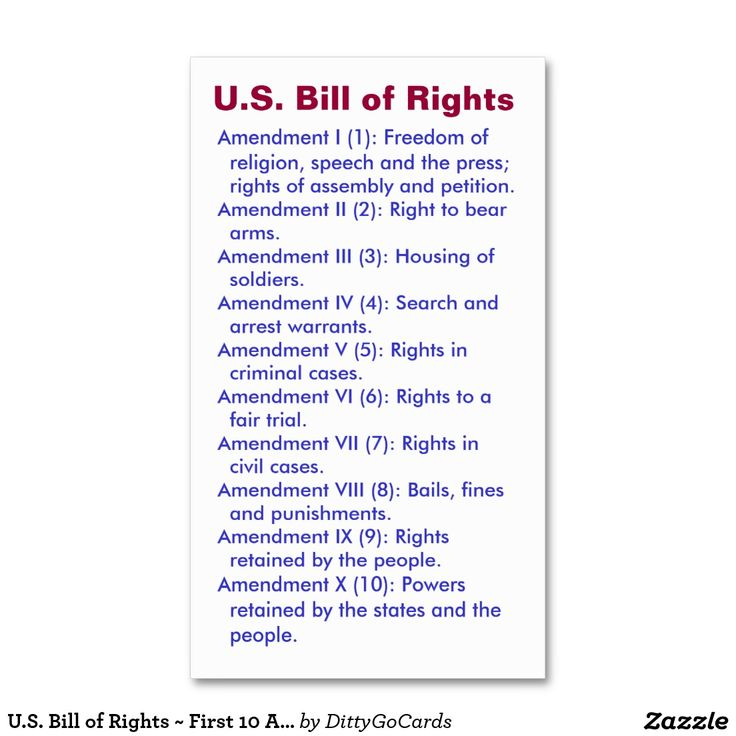 bill of rights of the constitution On march 4, 1789, america officially adopted the united states constitution,  which  the ten amendments included in the bill of rights allow the following  rights.