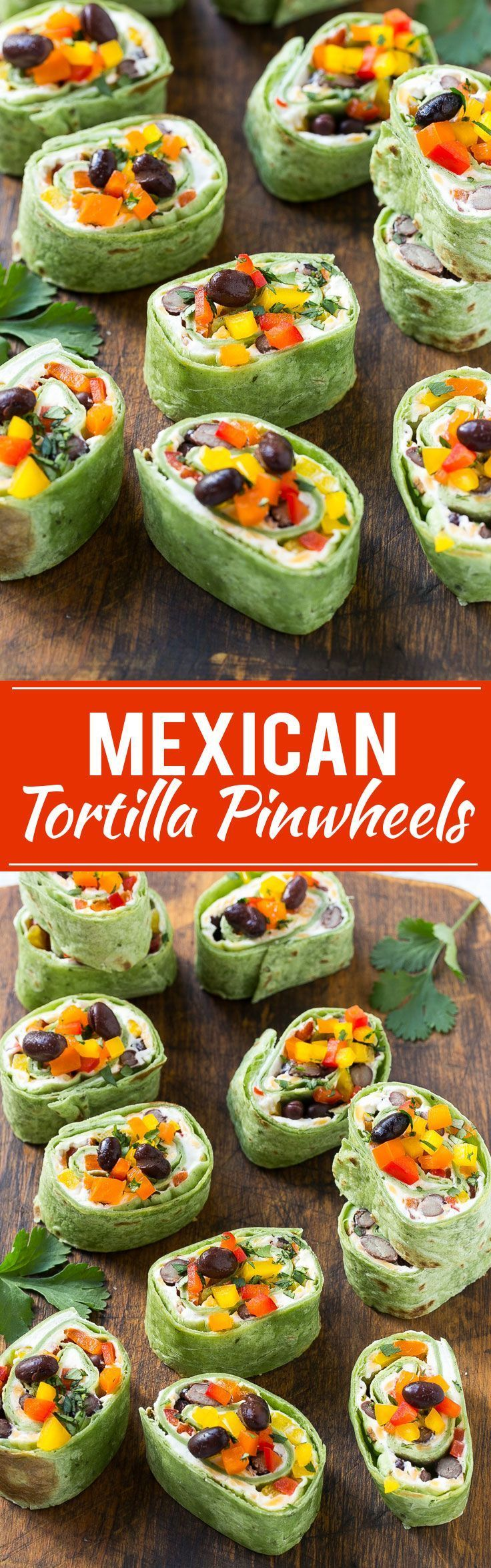 This recipe for Mexican tortilla pinwheels is two types of cheese, black beans and colorful veggies all rolled up inside tortillas and cut into rounds. The perfect make-ahead snack or appetizer!