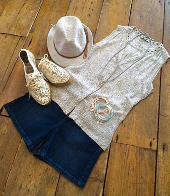 Look effortlessly stunning in this gorgeous summer outfit. Sandwich sleeveless blue patterned top £69.00. Johnny Q denim shorts £85.00. Lace espadrilles from Cara £74.95. Sandwich sun hat £35.00. Necklace £14.95, pendant £28.50 & bangles £19.00 a set all from our new jewellery brand, Sence.